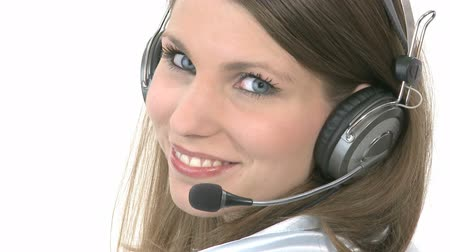 kontakt : Callcenter Agent turns around and smiles Wideo