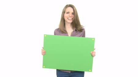 blúz : Attractive Woman shows greenkey copyspace with tracking points.