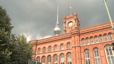 cegła : Television Tower behind the red town hall (Rotes Rathaus) in Berlin, Germany.