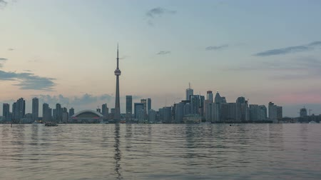 набережная : Timelapse Toronto Skyline Sunset Стоковые видеозаписи