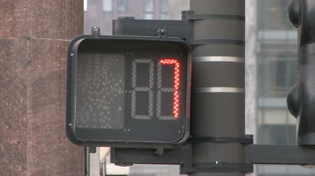 uyarmak : Red Pedestrian Traffic Light in Chicago counts down Stok Video