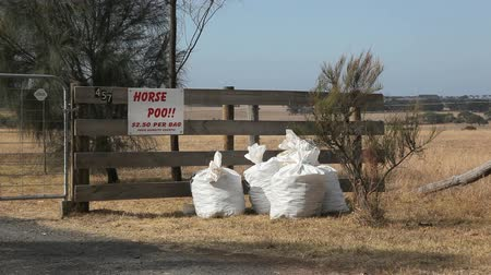 poo : Horse poo for sale at a fence in Australia Stock Footage