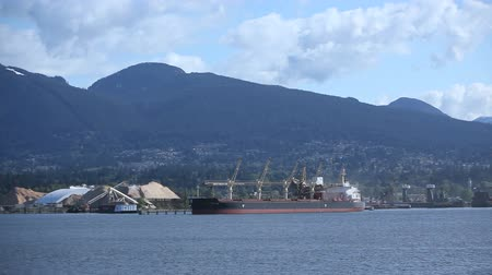 áruk : Discharging a shipment from a Cargo Freighter moored at Vancouver harbor