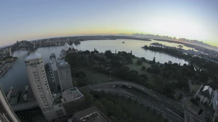 lapso de tempo : Sydney Bay Area Sunrise Timelapse in fisheye aerial view