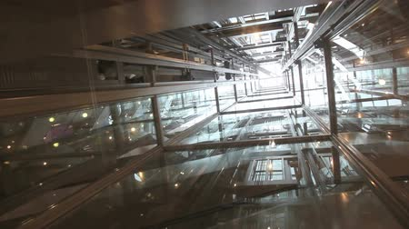 лифт : Ride in a transparent glass elevator going up
