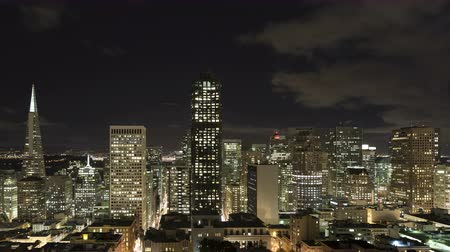 san francisco : 4K Time lapse close up of downtown San Francisco skyline at nighttime