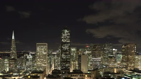 san francisco : 4K Time lapse zoom out of downtown San Francisco skyline at nighttime Stock Footage