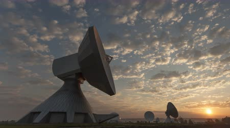 dish : 4K Time lapse zoom out Parabolic satellite dish sunrise at the earth radio station in Raisting