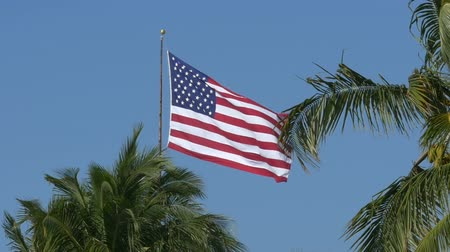 blue flag : Slowmotion of US American flag waving in the wind with blue sky and clouds in the background