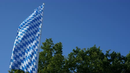 bavarian flag : Bavarian flag moving in the wind with a blue sunny sky