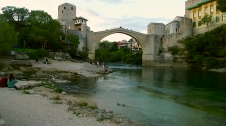 балканский : Under Old Bridge in Mostar. Bosnia and Hercegovina.