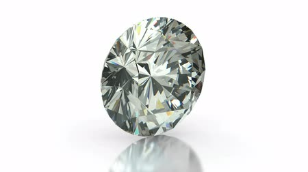 rombusz : Round cut diamond on white (seamless) Stock mozgókép