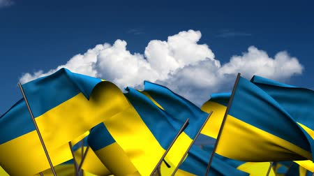 birlik : Waving Ukrainian Flags (seamless & alpha channel)