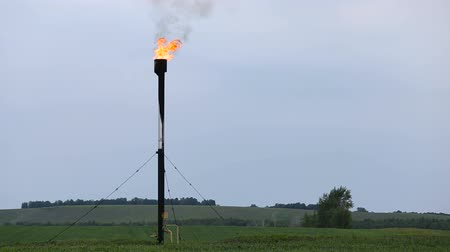 társult : The gas torch burns on the oil field. Associated natural gas in burnt. Stock mozgókép