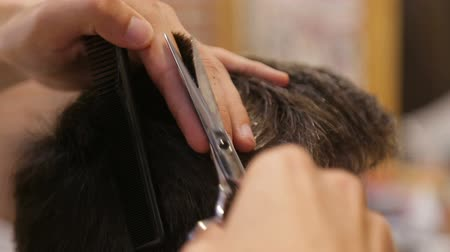 střih : Master cuts hair and beard of men in the barbershop, hairdresser makes hairstyle for a young man