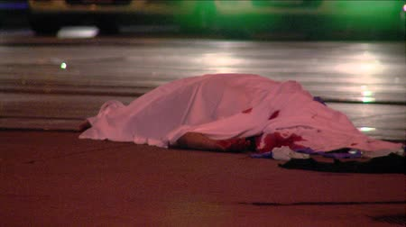 autó : White sheet covers body at night fatal traffic accident, Salt Lake City, Utah. Stock mozgókép