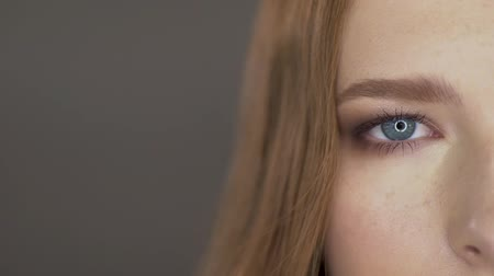 microblading : Cute young model poses for the camera. eyes close up Stock Footage
