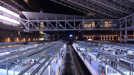 train station : Trains in Osaka Station in Osaka, Japan. Stock Footage