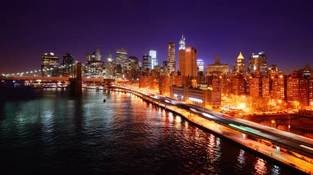 night scene : Lower Manhattan time lapse at night Stock Footage