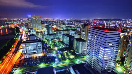 japan : Fukuoka, Japan time lapse in the Momochihama District.