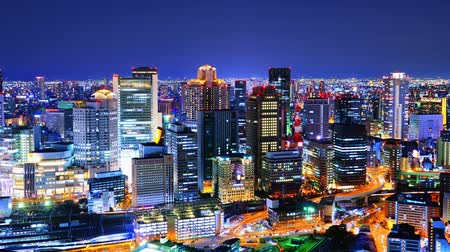 japan : Osaka, Japan time lapse at the Umeda District  Stock Footage