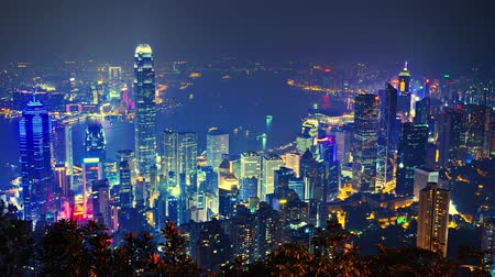 urban skyline : Hong Kong from Victoria Peak Stock Footage