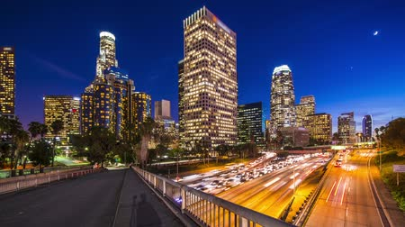 samochody : Los Angeles downtown skyline time lapse Wideo