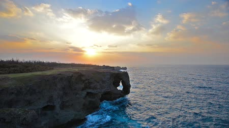 cliff : Sunset over Manzamo cliff in Okinawa, Japan.