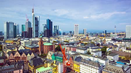 Франкфурт : Frankfurt, Germany aerial view skyline time lapse