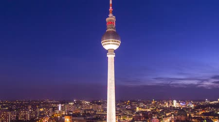 berlin skyline : Berlin, Germany at Alexanderplatz Time Lapse. Stock Footage