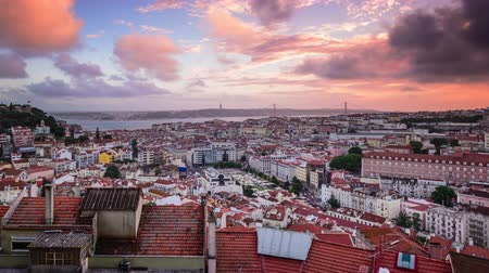 Lisbon, Portugal city skyline at dusk.