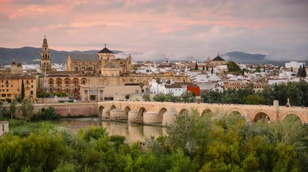 europa : Cordoba, Spain at the Roman Bridge and Mosque-Cathedral. Wideo