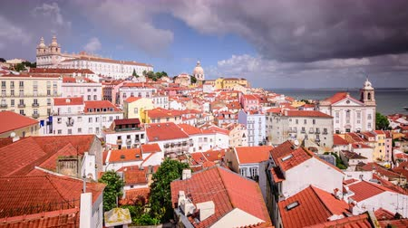 miradouro : Lisbon, Portugal town time lapse in the Alfama district.