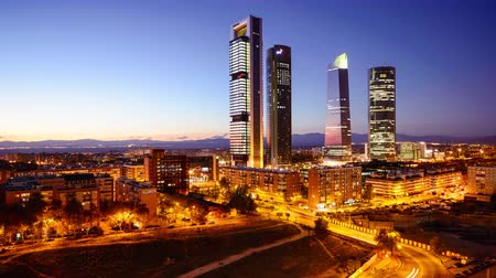 Madrid, Spain financial district city skyline.