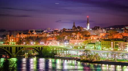Georgetown, Washington DC, USA skyline time lapse.