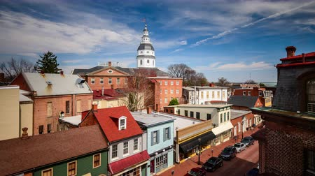 kasaba : Annapolis Maryland USA downtown time lapse. Stok Video