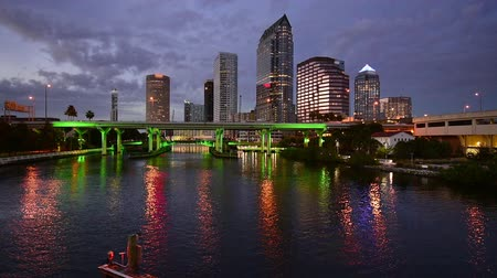 tampa bay : Tampa Florida USA downtown skyline footage at twilight. Stock Footage