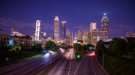 urban skyline : Atlanta Georgia USA skyline time lapse over Freedom Parkway.