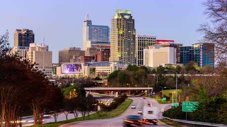 north america : Raleigh North Carolina USA downtown skyline time lapse. Stock Footage