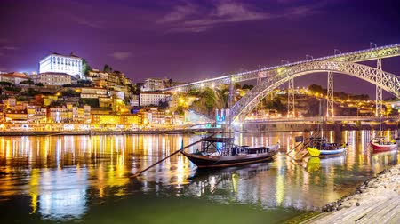 alkol : Porto Portugal old town skyline on the Douro River. Stok Video