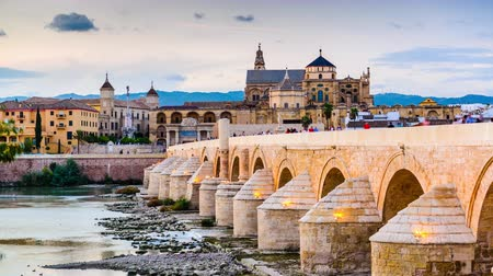 spanyolország : Cordoba Spain town skyline at the Roman Bridge and MosqueCathedral.