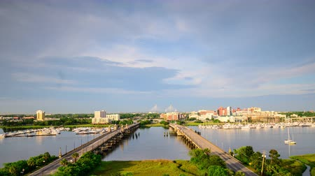 sc : Charleston South Carolina USA skyline over the Ashley River.