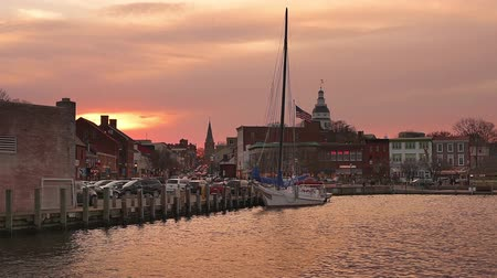 baía : Annapolis Maryland USA harbor skyline. Vídeos