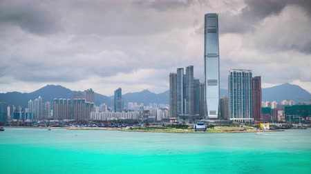icc : Hong Kong China skyline of Kowloon and Mongkok from Hong Kong Island. Stock Footage