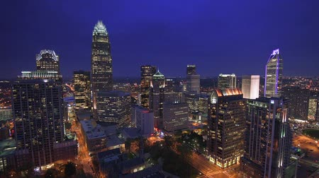 united states : Charlotte North Carolina USA uptown skyline footage at twilight.
