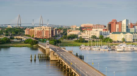 sud america : Charleston, South Carolina, Stati Uniti d'America orizzonte sul fiume Ashley.