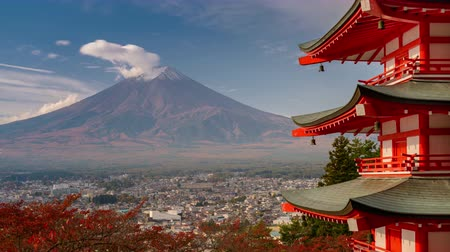 Mt. Fuji viewed from behind Chureito Pagoda. Wideo