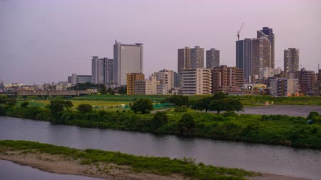kanto district : Kawasaki, Japan skyline at the Tamagawa River.