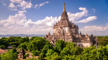 pagan kingdom : Bagan, Myanmar temple in the Archeological Park. Stock Footage