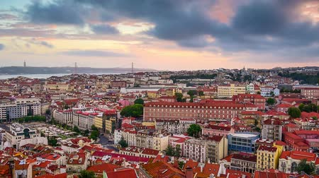 baixa : Lisbon, Portugal skyline over the Baixa district at dusk. Stock Footage